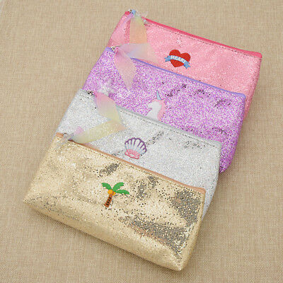 Heart Unicorn Embroidered Pencil Pen Case Bag Cosmetic Makeup Storage Bag Purse