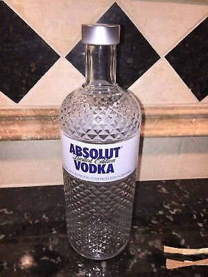 Glimmer Vodka 1 Liter Empty Absolut Rare Collector Bottle Crystal Cut Glass