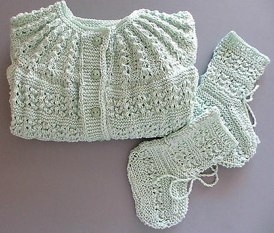 Baby Sweater and Shoes Handmade Knitted  in a Size 12-18  Months, Unique pieces.