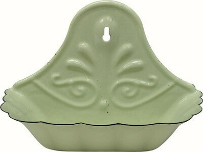 French Country Farmhouse Chic Vintage Cottage Green Enamelware Soap Dish Holder