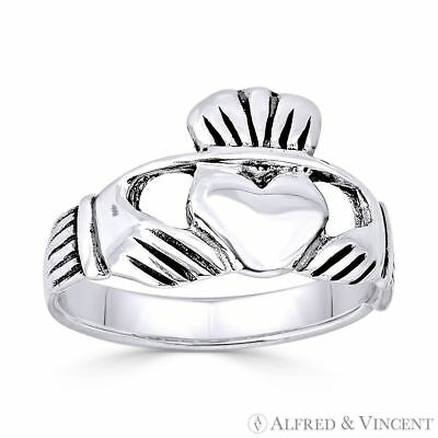 Claddagh Heart Irish Celtic Charm Promise Friendship Ring in 925 Sterling Silver