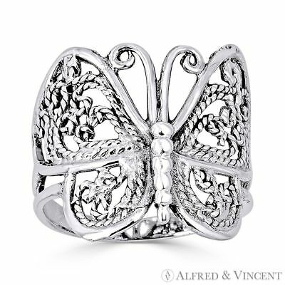 Butterfly Animal Charm Milgrain Wide Thick Ring in Oxidized .925 Sterling Silver