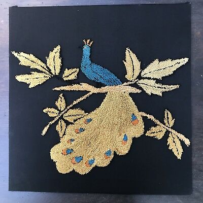 Vintage Peacock Hand Embroidered Peacock Panel Blue Gold Art Framed