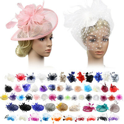 Ladies Flower Hair Clip Feathers Top Hat Fascinator Royal Ascot Race Wedding