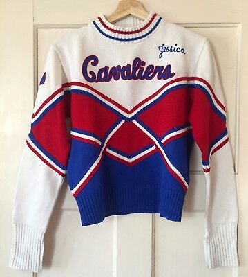 1960s vintage cheerleader sweater, red white and blue, Zipper Collar, SIZE S