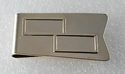 Vintage Collectible Shiny Gold Plated Brass Double Square Money Clip NOS