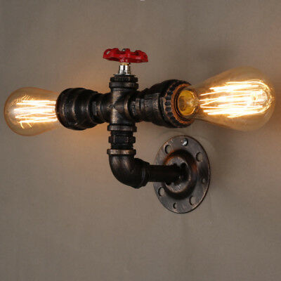 Dual Head Vintage Water Pipe Wall Light Industrial Sconce Bar Home Wall Lamp