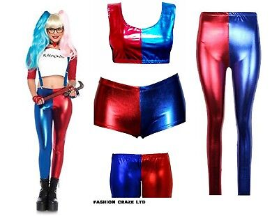 New Womens Harley Quinn Halloween Cosplay Shorts Suicide Squad Shiny Hot Pant UK
