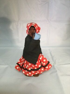 Handmade Vintage Wood Carved Doll, Made In Mexico. Red Polka Dot Dress, Baby