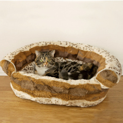 Rosewood Brown Hyena Print Sofa Cat Kitten Bed