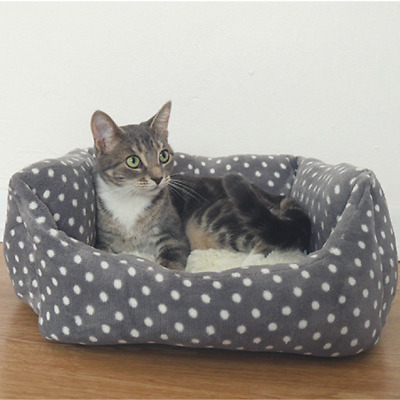 "Rosewood Grey and Cream Spot Sleeper 16"" Cat Kitten Bed"