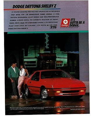 1988 Dodge DAYTONA SHELBY Z Red 2-door Coupe Sports Car VTG PRINT AD