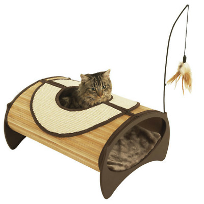 Rosewood Bamboo Cat Kitten Pod Bed Scratch and Play Centre