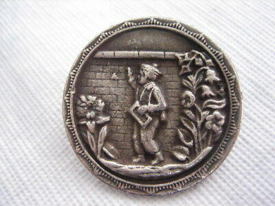 """Vintage Large 1-5/16"""" French White Metal Picture Button - Boy, Wall - M03"""