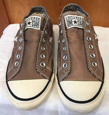 Womens Converse One Star Sneakers All Star Slip Trainers Brown Sz 8.5