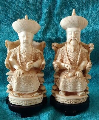 Carved Asian Vintage Oriental Chinese Emperor & Empress Figurines Wood Base Bone