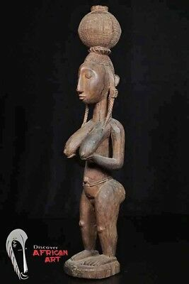 "Beautiful Large Bamana Female Statue 27"" - Mali - African Art"