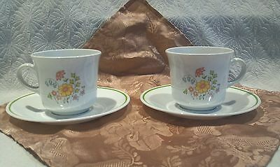 Corning Ware Corelle Flower Spring Meadow Set Of 2 Cups & Saucers