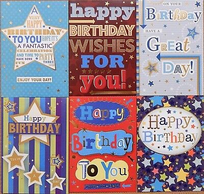 Pack of 6 Childrens Boys Kids Birthday Cards Pack of Male Mens Birthday Cards /c