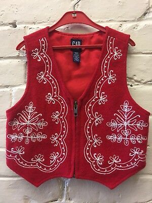 Vtg Gap 3 XXS Red Nordic Embroidered Vest Holiday Wool Blend
