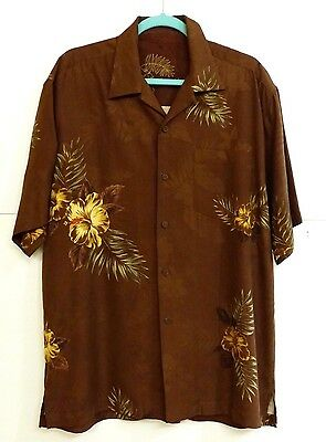 VGUC Tommy Bahama Men's Sz L 100% Silk Brown Floral Short Sleeve Aloha Shirt MS