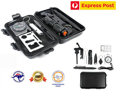 9 in 1 Outdoor Survival Kit First Aid Tool Hiking Camping Rescue Gear Emergency