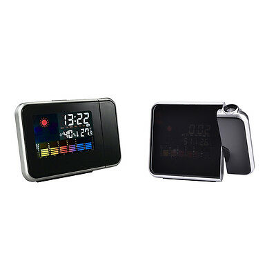 LCD Digital Projector Projection Alarm Clock Weather Station Calendar Snooze PR