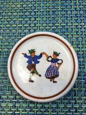 "VTG  German Porcelain Butter Pat German Folk Dancers 3"" Germany"
