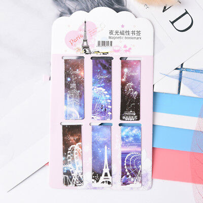 6pcs Starry Sky Paper Bookmarks Magnetic Book Marks School Supplies Stationery、