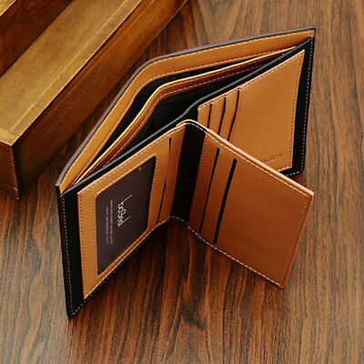 Mens Genuine Leather Wallet Bifold Slim Cash Credit Card ID Holder Purse