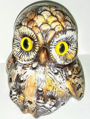 """HOLLAND MOLD • Owl • MID-CENTURY Ceramic Candle Light Holder 7"""" MINT Condition"""