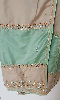 Latest Shalwar Kameez Pakistani Indian Beige Green with embroidery Small 3pcs