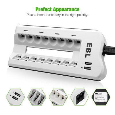 8 Slot Smart AA AAA NI-MH NI-CD Battery Charger Cell Phone Dual USB Port Charger