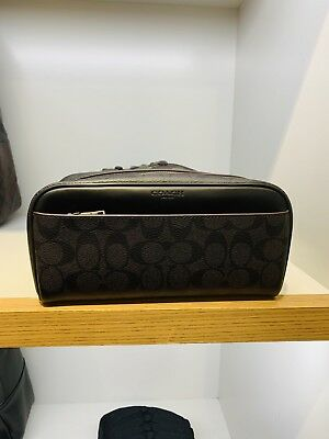 NEW Coach F26073 Men s Signature PVC Toiletry Travel Kit Bag Oxblood Black   175 c0a6131883113