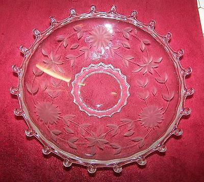 "Heisey Lariat 9 1/2"" Etched Camellia Bowl Clear Depression Glass."