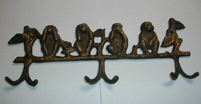 Vintage Brass Wise Monkeys Hear See Speak Do No Evil Wall Mounted Hook Holder