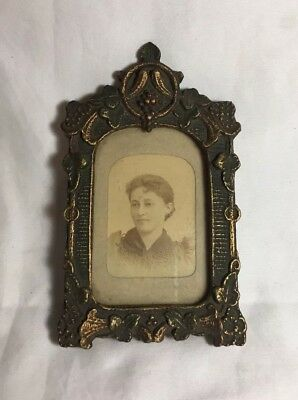 Antique Late 1800s - 1900s Sepia Portrait Woman Findlay Galleries Photo Framed