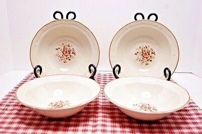 """LOT of 4 Brick Oven Antique Array Meadow Flowers 7 1/8"""" Cereal Bowls MINT!"""