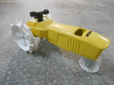 Old Vintage Nelson Traveling Lawn Sprinkler Tractor Yellow Gardening Tool Heavy