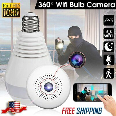 360° Panoramic Wireless WIFI Bulb 1080P Hidden HD Spy Camera Light Security LOT