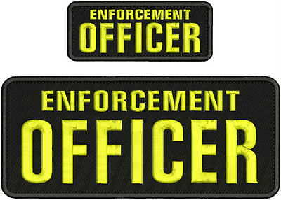 Enforcement Officer embroidery patch 4X10 and 2x5 hook on back black/yellow