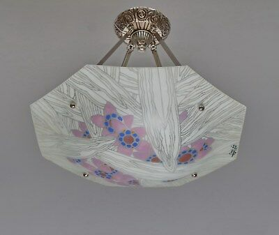 LOYS LUCHA : FRENCH 1930 ART DECO CHANDELIER .......... suspension lamp lampe