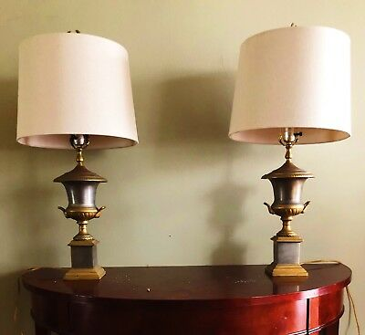 Pair Of antique Neoclassical Style Table Lamps Vase Shape On Pedestals
