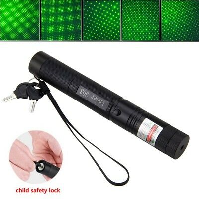 Adjustable 303 Green Laser Pointer Lazer Pen Beam Light Focus 532nm+Key <1mw