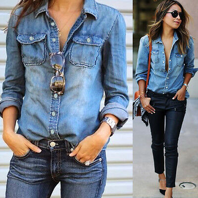 2017 Fashion Women Ladies Blue Jean Denim Long Sleeve Shirt Tops Blouse Jacket