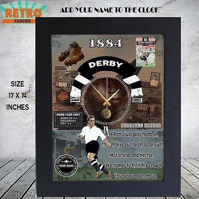 Personalised  Retro  DERBY COUNTY  football  supporters  Metal WALL CLOCK