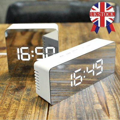 UK Mirror LED Digital Display Snooze Alarm Clock Time Temperature Night Mode WH