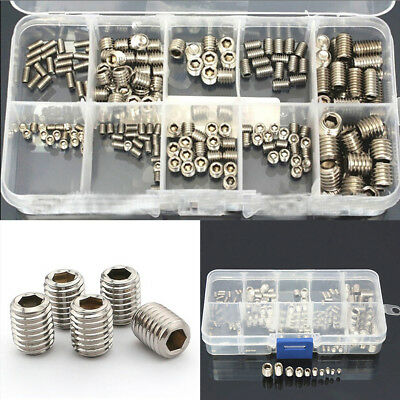 FT- 200Pcs M3/4/5/6/8 Stainless Steel Socket Hex Set Grub Screw Cup Point Exotic