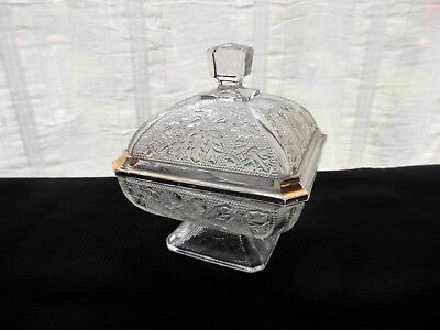 Jeannette Glass Clear & Gold Decorated Acorn & Oak Leaf Footed Candy Box & Cover