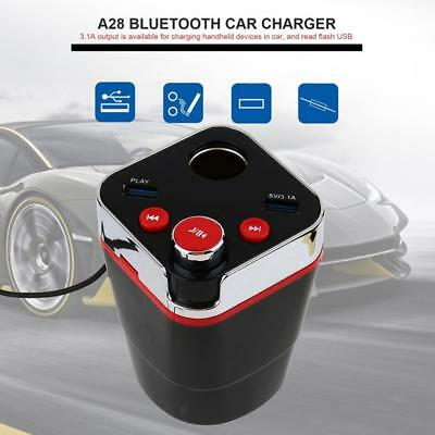 Multifunctional Bluetooth Car Cup Charger Cigarette Lighter 2-USB Port Red